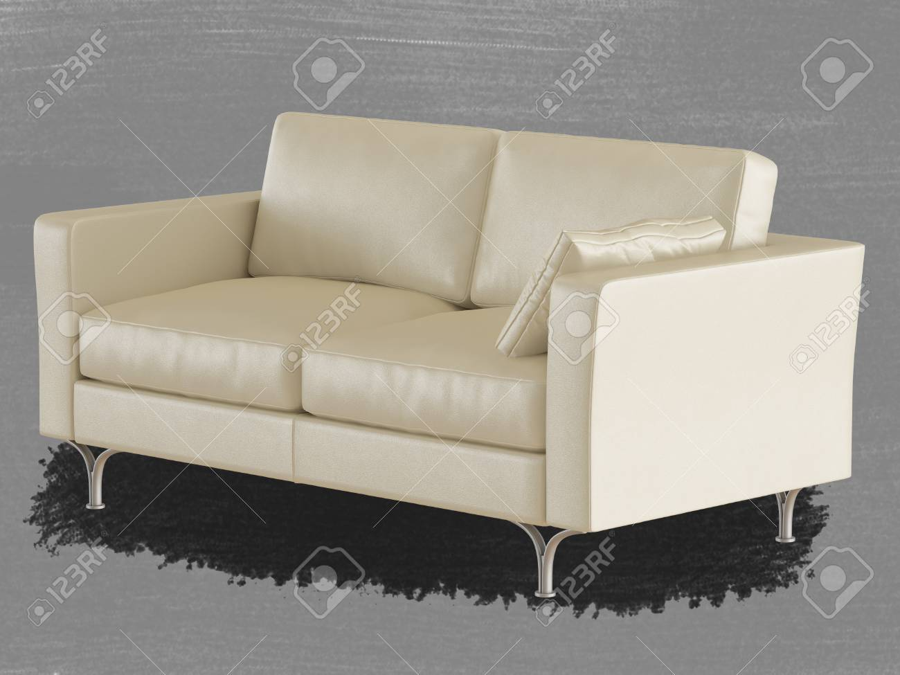 Phenomenal Beige Leather Sofa With A Pillow With Iron Legs On A Gray Background Squirreltailoven Fun Painted Chair Ideas Images Squirreltailovenorg