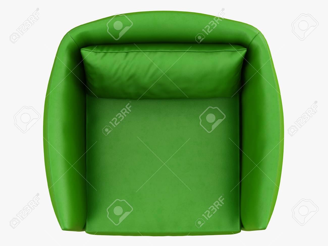 Green leather armchair top view 3d rendering