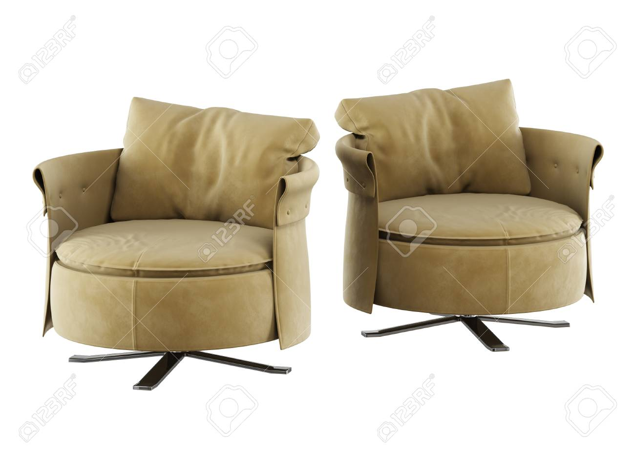 photo two round soft armchair 3d rendering on white backgraund