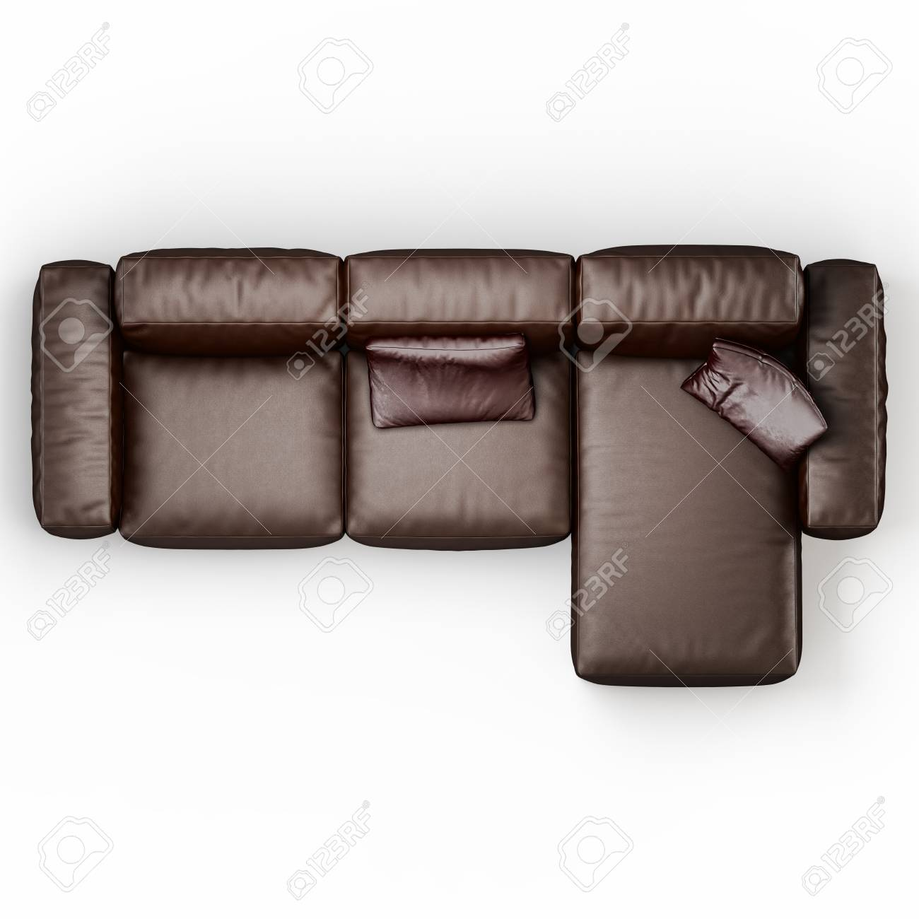 Leather corner sofa brown color on a white background top view..