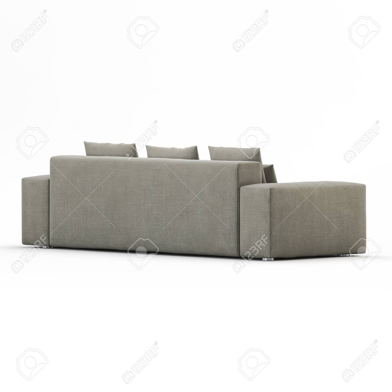Pleasant Three Seater Sofa With Pillows On A White Background Back View Ocoug Best Dining Table And Chair Ideas Images Ocougorg