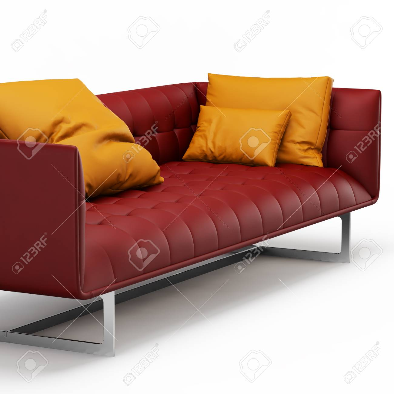 Red leather sofa with orange pillows on a white background 3d..