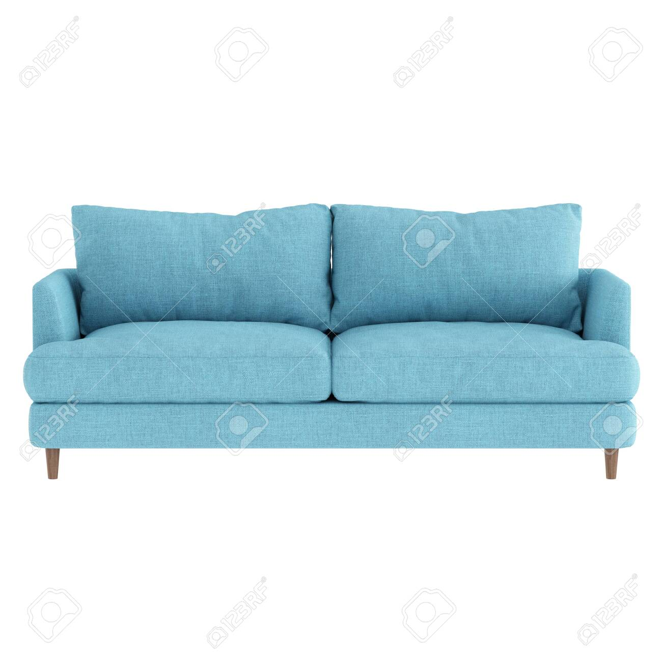 Soft Blue Fabric Sofa On Wooden Legs On A White Background Front Stock Photo Picture And Royalty Free Image Image 137974150