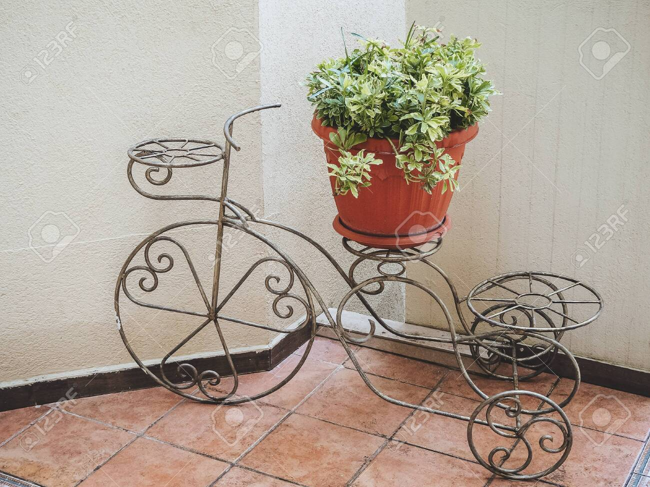 Decorative Wrought Iron Flower Stand In The Shape Of A Bicycle Stock Photo Picture And Royalty Free Image Image 150699252