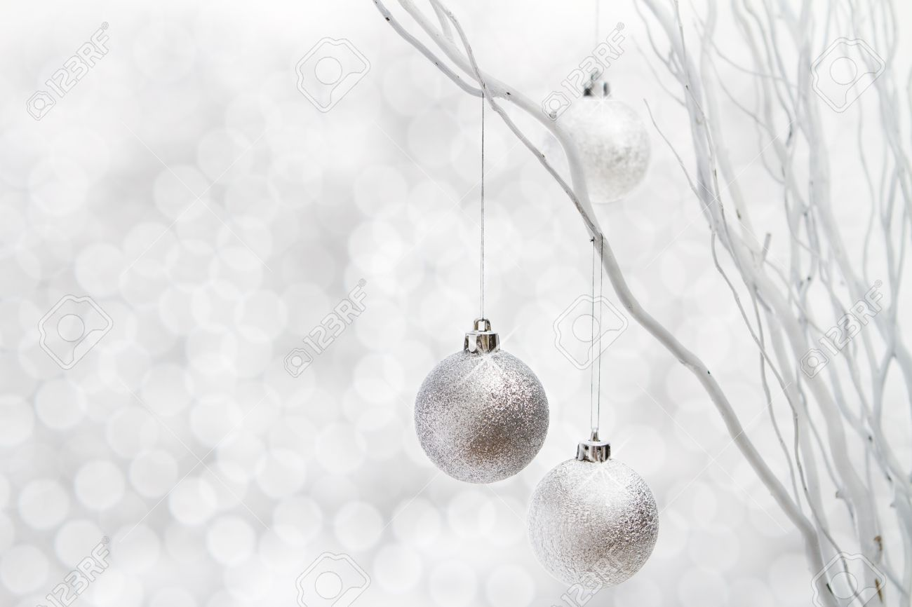 Christmas Background Of Silver Ball Decorations On White Sparkle ...
