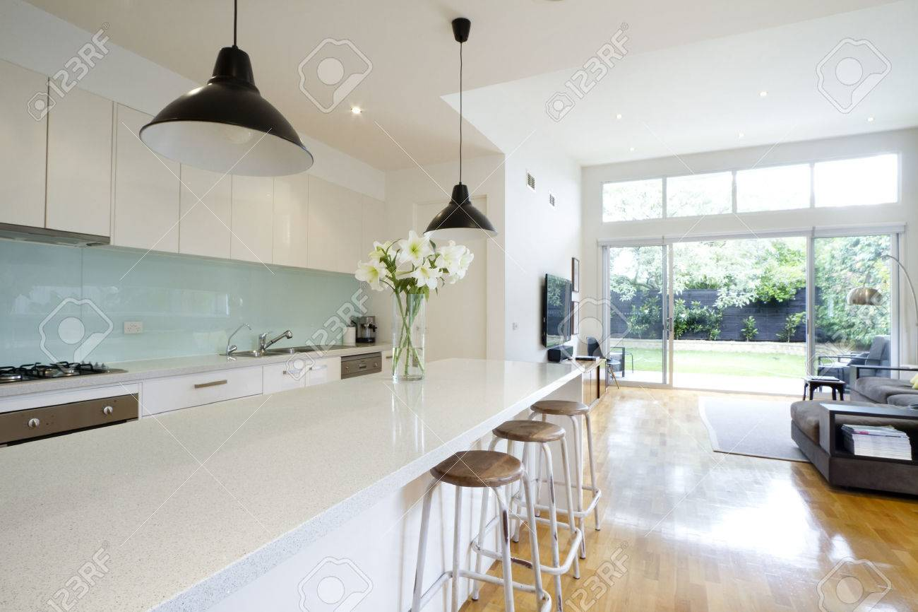 Contemporary Kitchen And Open Plan Living Room With Garden Aspect ...