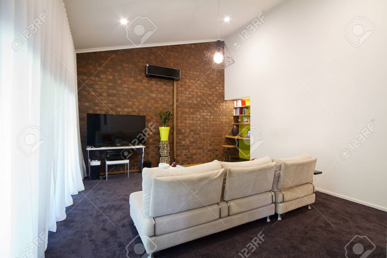 Renovated 70s Retro Exposed Brick Wall Apartment Living Room Stock Photo    35377240