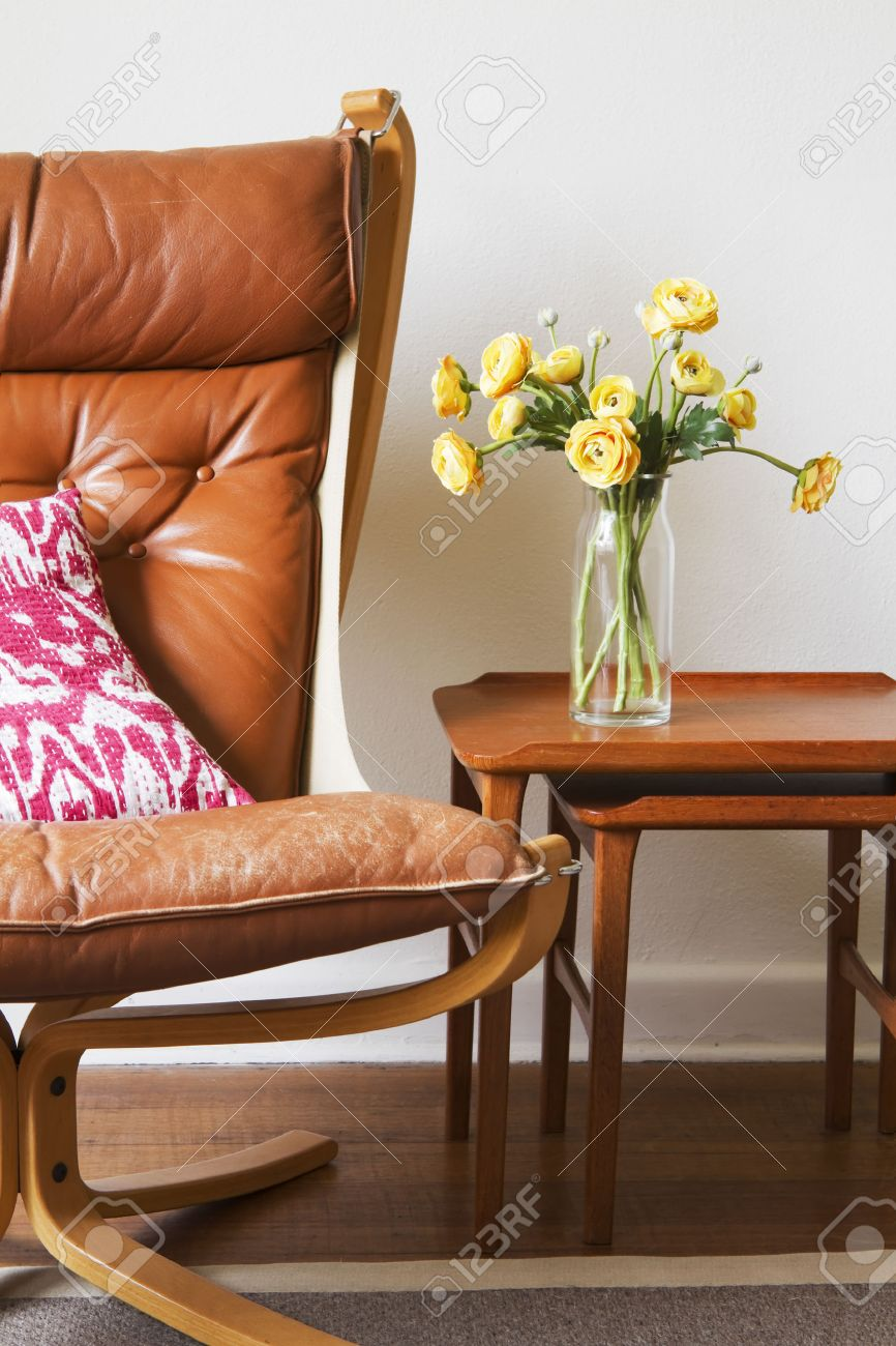 Groovy Cropped Vintage Retro Tan Leather Chair With Teak Side Tables Dailytribune Chair Design For Home Dailytribuneorg