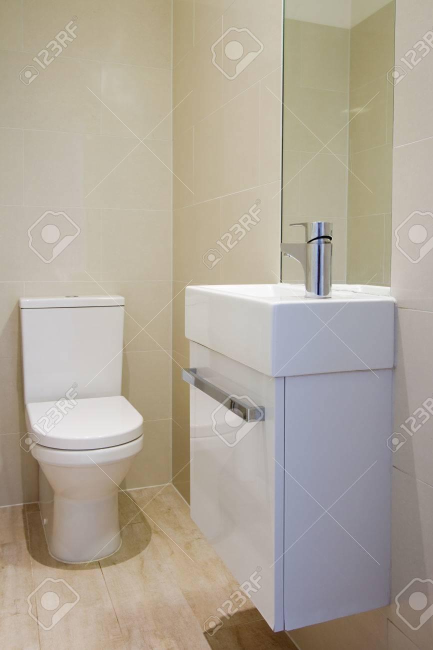 Vue d\'angle d\'récemment rénové salle de bains wc et lavabo entièrement  carrelée