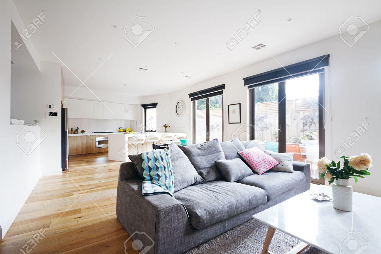 Salon ouvert cuisine contemporaine maison avec canapé gris