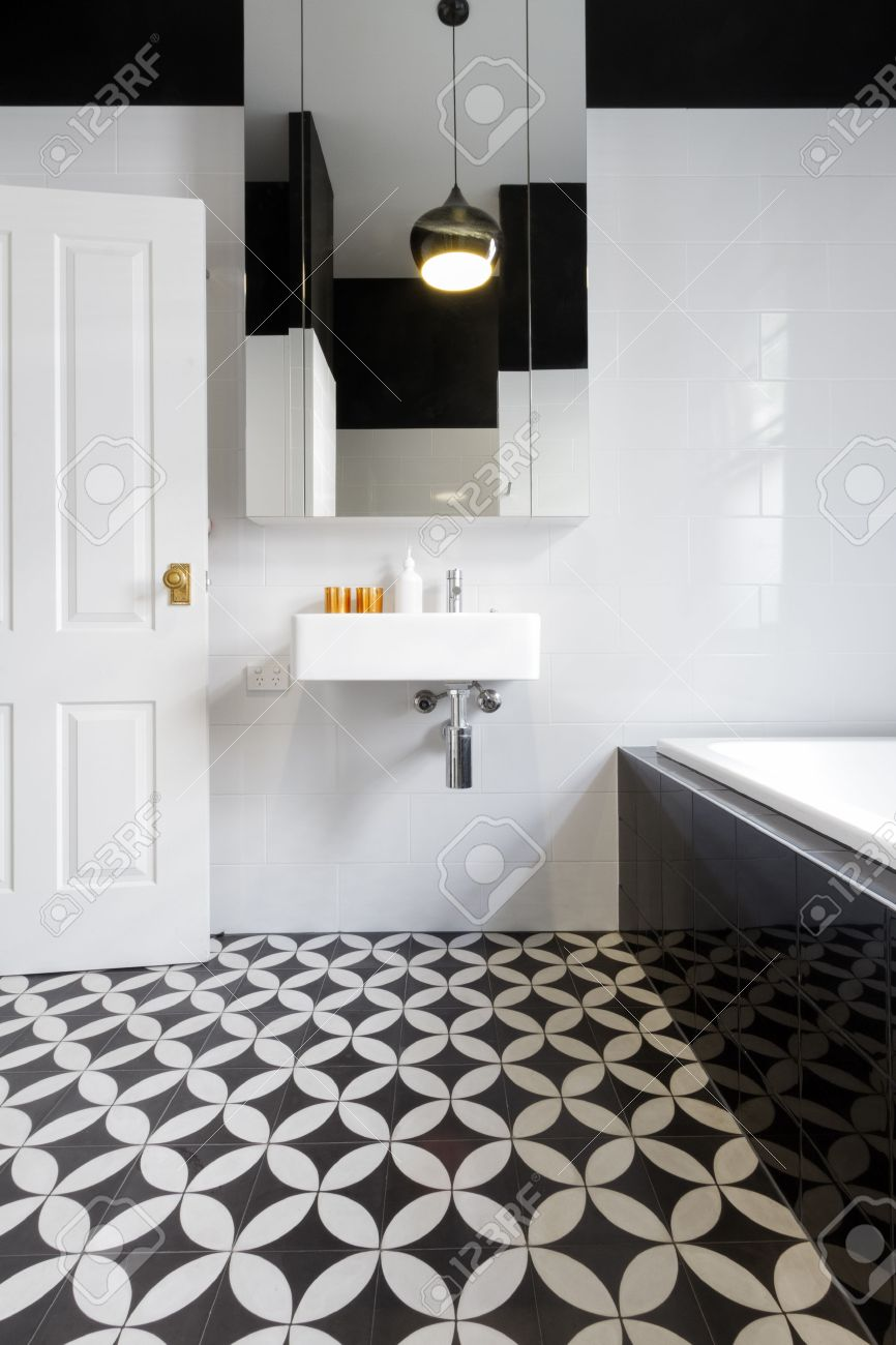 Luxury Monochrome Designer Bathroom Renovation With Patterned ...