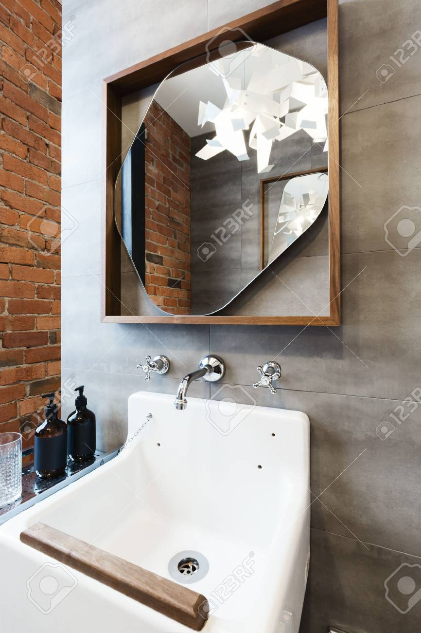 Close Up Of Vintage Style Bathroom Vanity In Renovated Warehouse Stock Photo Picture And Royalty Free Image Image 63225952
