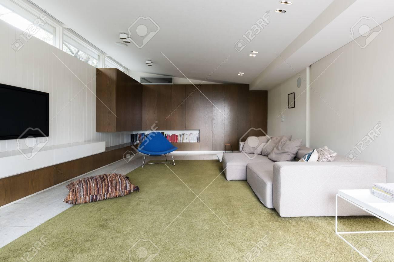 Modernes Wohnzimmer Mit Benutzerdefinierten Nussbaum Schränke Und Großen  Grünen Teppich Aus Wolle Standard Bild