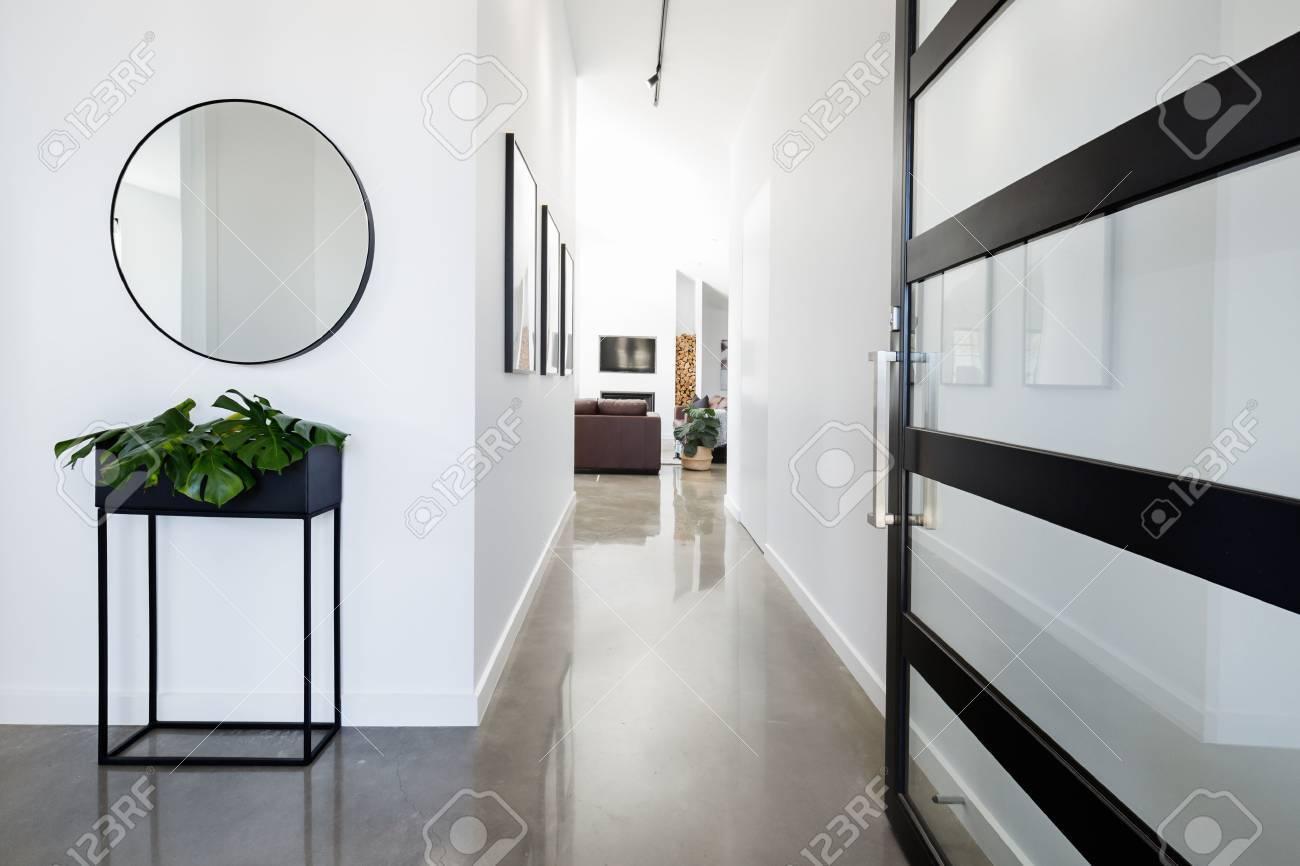 Hall d\'entrée contemporain avec sol en béton brillant