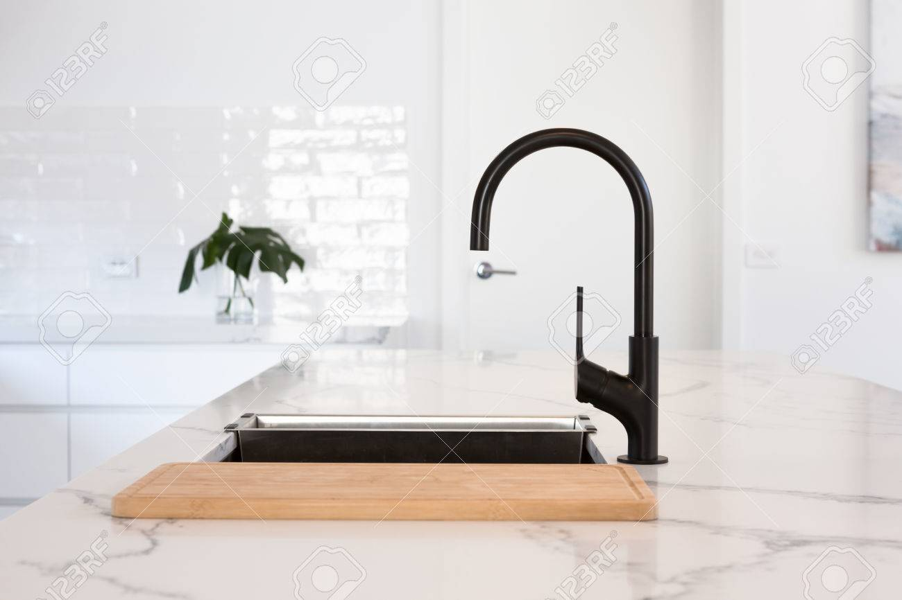 Monochrome Kitchen Detail Of Black Tap Stock Photo Picture And