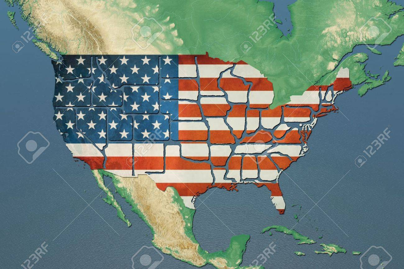 Highly detailed USA map with the US flag, natural colors, terrain..