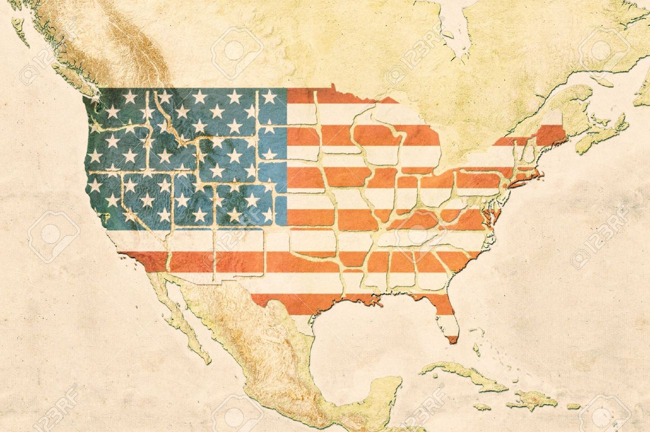 Highly Detailed USA Map With The US Flag, Vintage Texture And ...