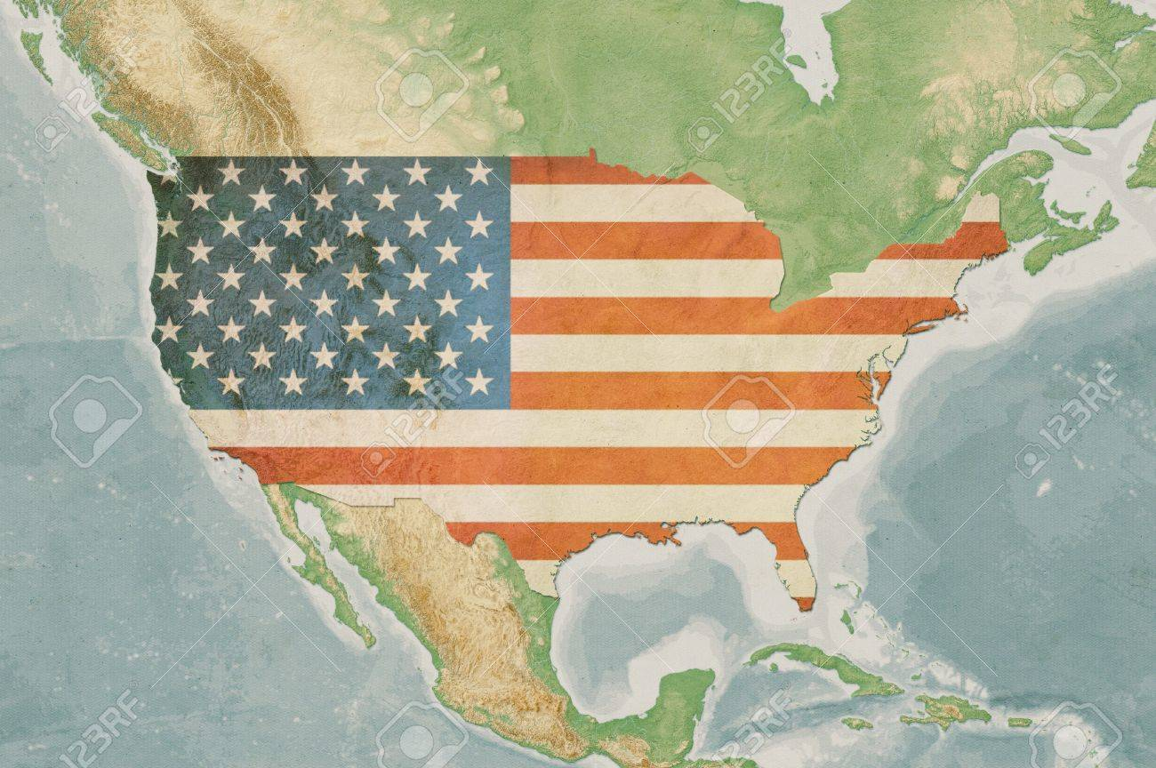 Highly Detailed Usa Map With The Us Flag Vintage Texture Terrain - Map-of-us-terrain