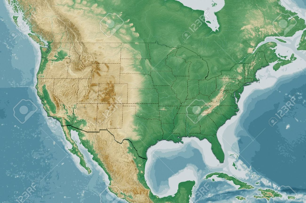 Highly Detailed USA Map With Natural Colors Terrain Elevation - Elevation map of usa