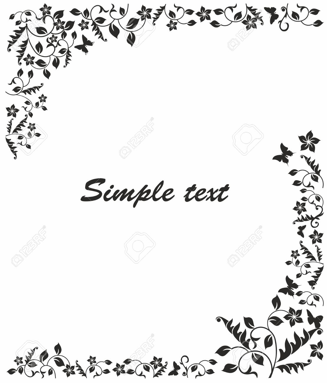 Simple Black And White Frame With Flowers And Butterflies Royalty ...