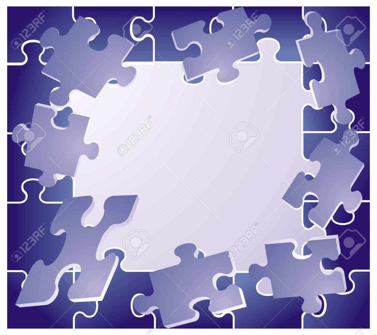 frame with blue puzzles Stock Vector - 23712120