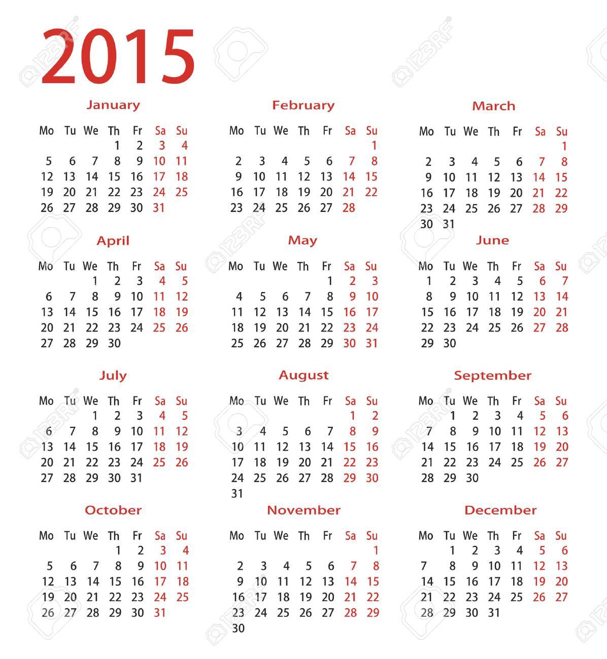 simple calendar 2015 stock vector 24911798
