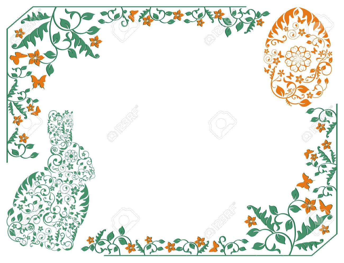 Simple Frame With Easter Bunny Royalty Free Cliparts, Vectors, And ...