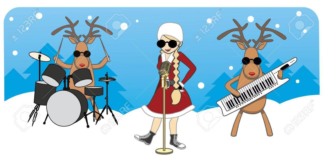 Cartoon Christmas Card. Maiden Sings, Reindeer Play Musical ...
