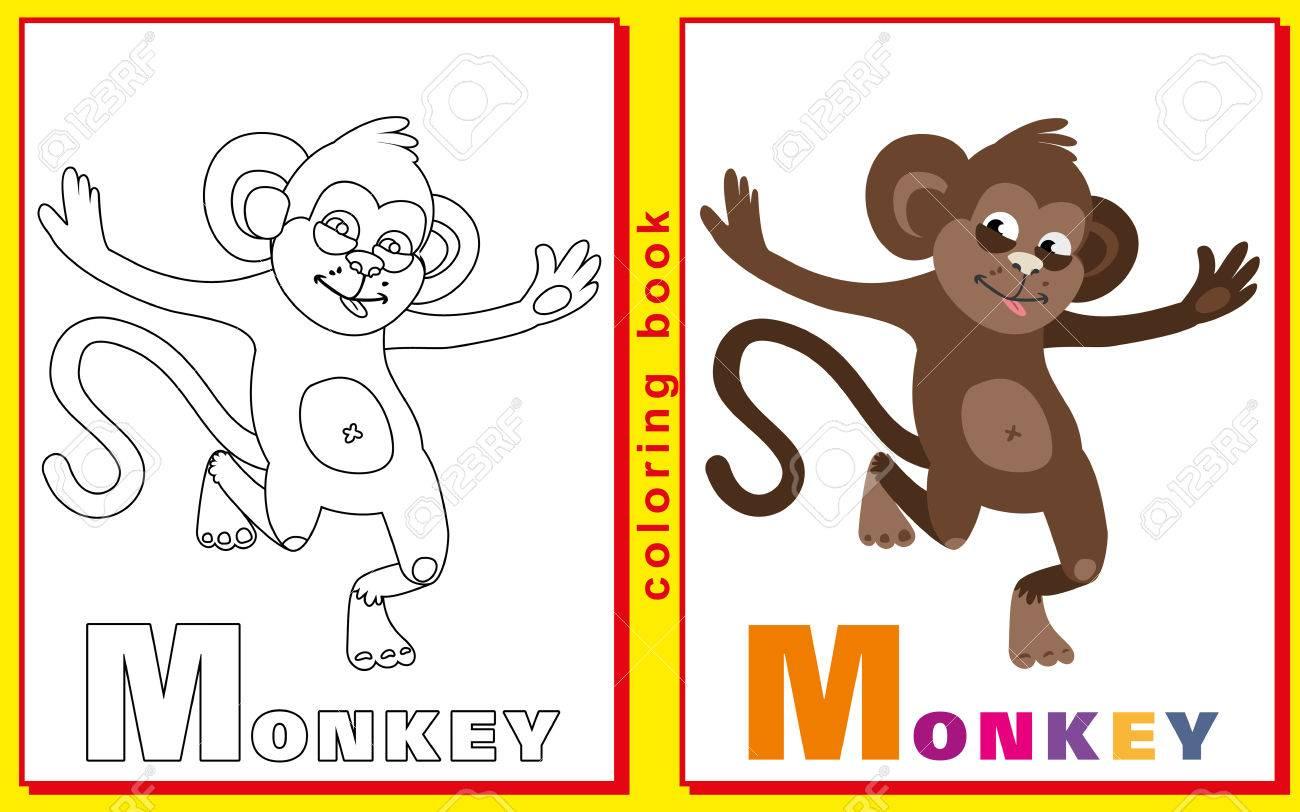 Libro Para Colorear Para Niños Con Letras Y Palabras La Basura M Mono