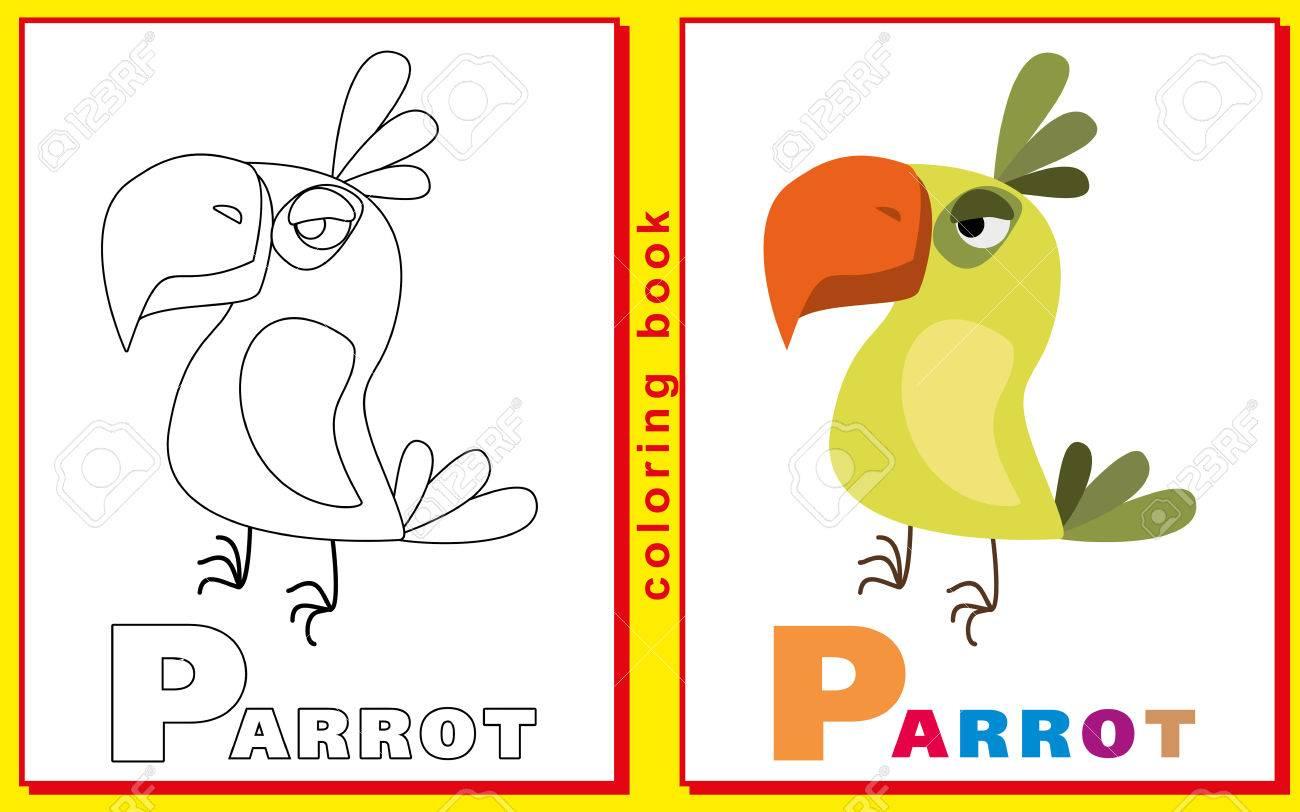Libro Para Colorear Para Niños Con Letras Y Palabras La Basura P Loro Imagen Del Vector