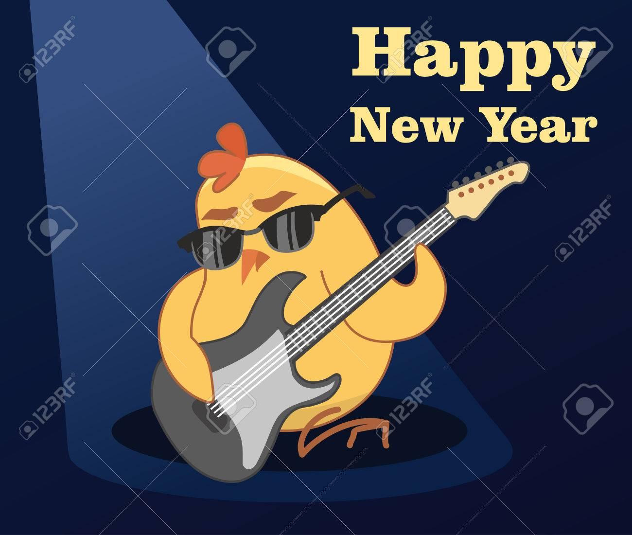 vector vector new year card young cockerel plays guitar