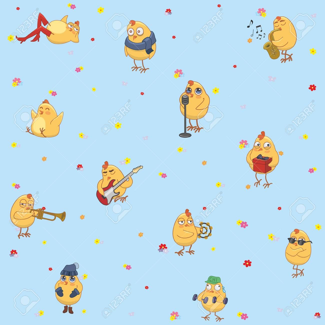 Fond D Ecran Pour Enfants Sans Couture Des Poules Pleines Sur Un Fond Bleu Illustration Vectorielle Clip Art Libres De Droits Vecteurs Et Illustration Image 74416477
