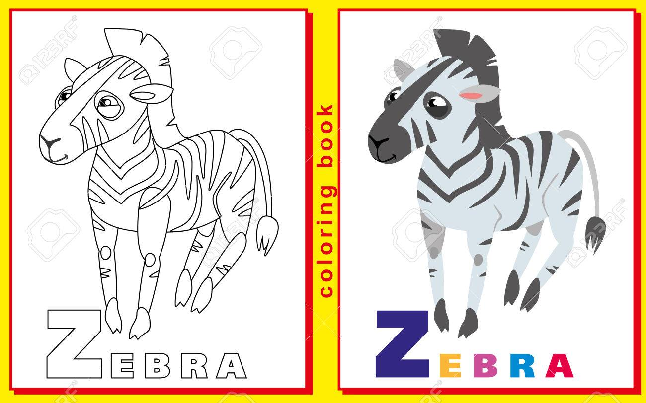 Children Coloring Book With Letters And Words. Letter Z. Zebra ...