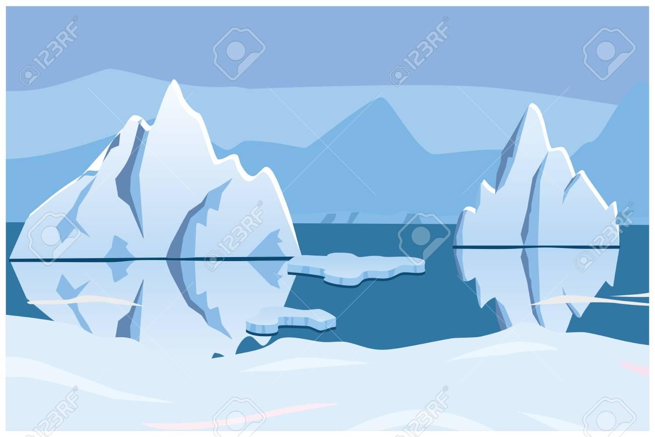 iceberg, icescape. square background. vector illustration - 92631705