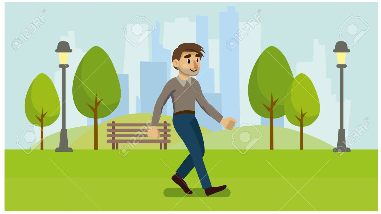 Healthy Lifestyle Walk In The Fresh Air Infographics A Man