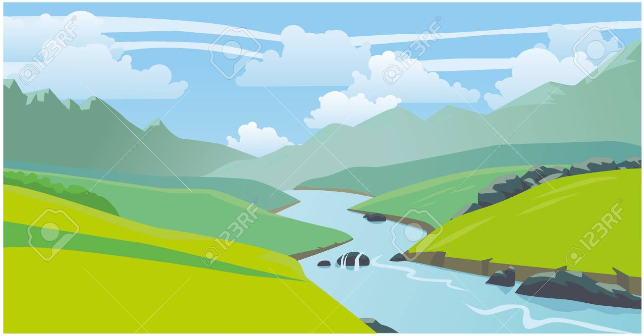 beautiful natural landscape mountains river vector 2d illustration royalty free cliparts vectors and stock illustration image 111883326 123rf com