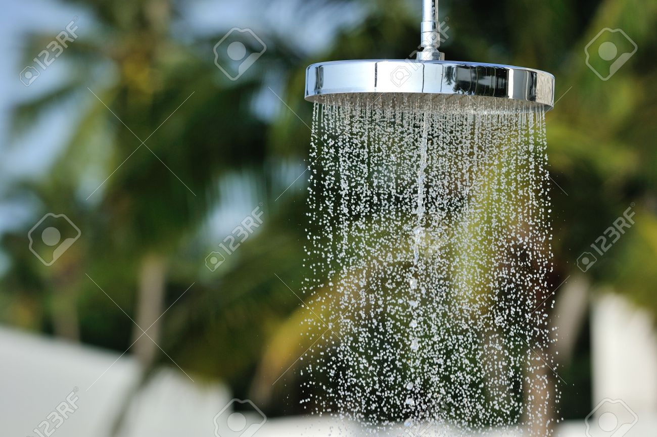 Outdoor Shower Head Part - 45: Water Running From An Outdoor Shower Head Stock Photo - 14044088