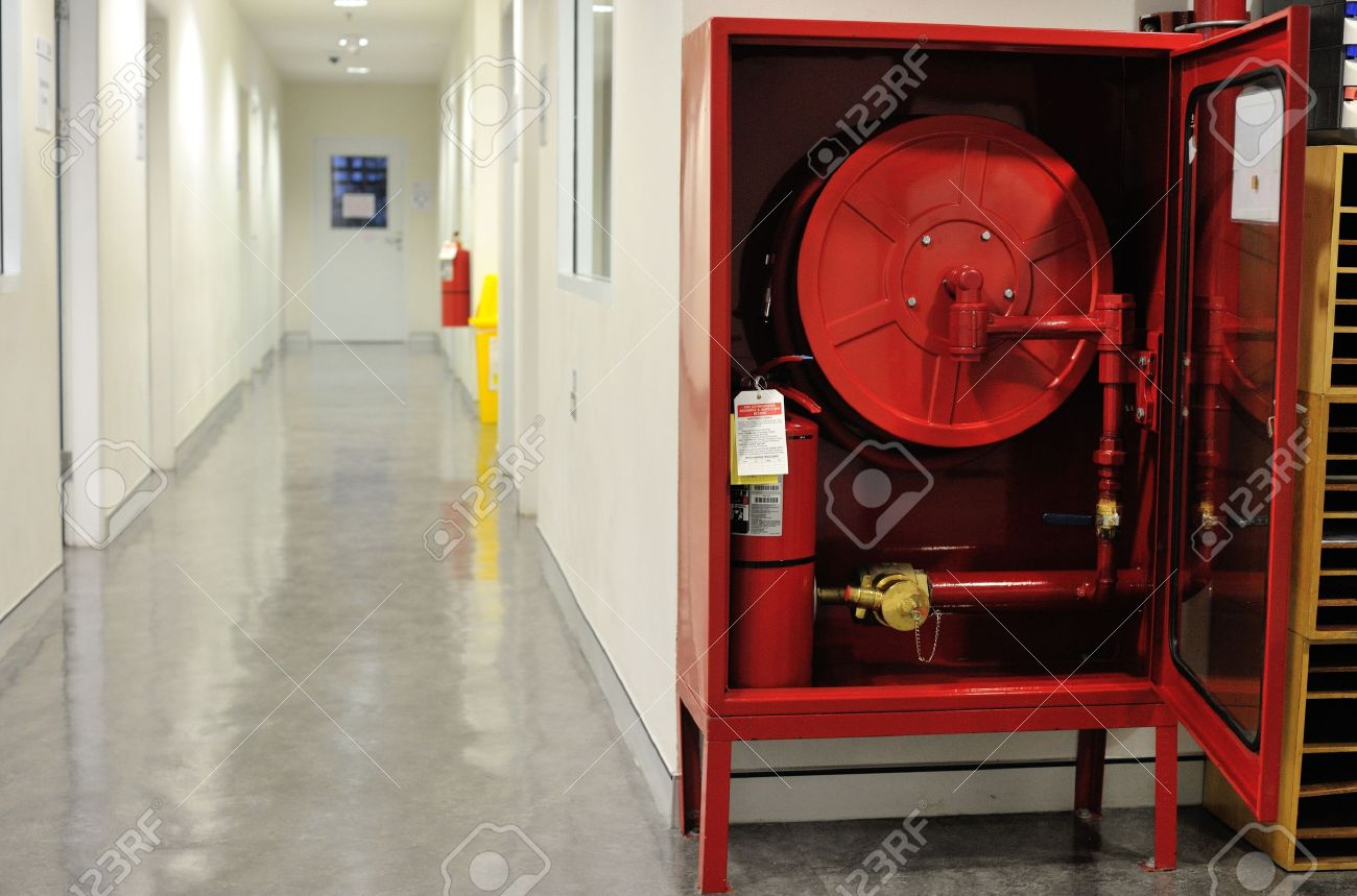 American Fire Hose And Cabinet Fire Hose Cabinet Installed In The Building Stock Photo Picture