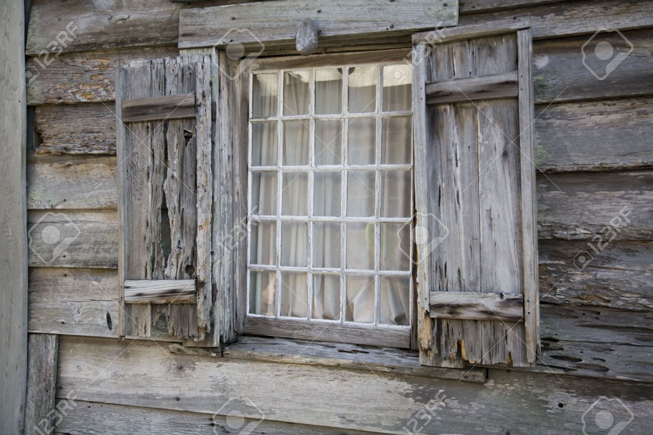 Very Old Wooden Window Casement And Window With Shutters Stock