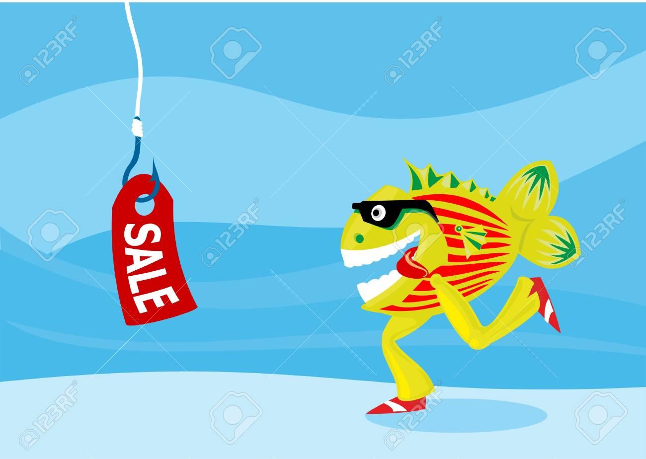 Fish pecks on sale Stock Vector - 10468444