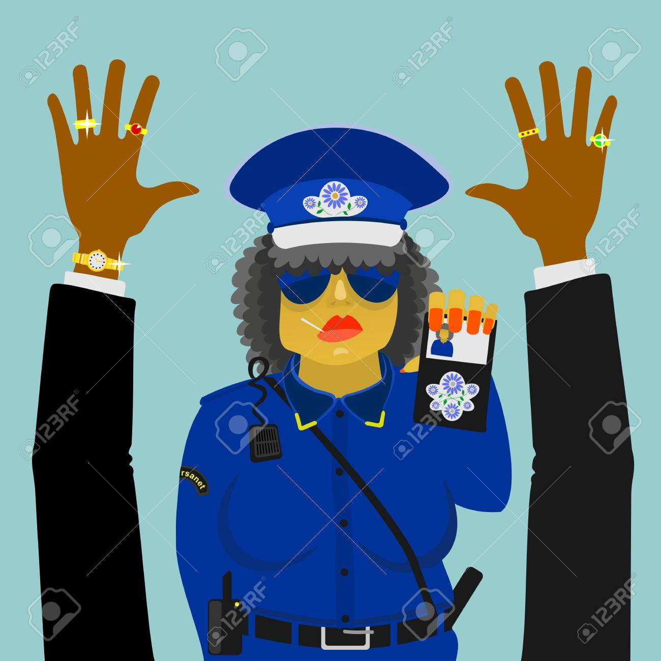 woman police officer on the job Stock Vector - 18386189