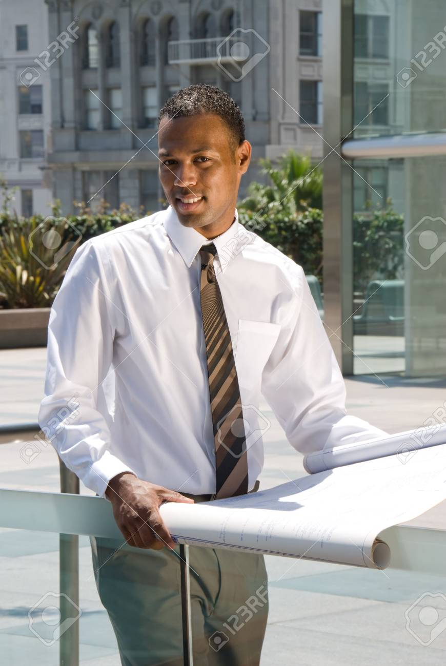 An executive engineer conducting architectural work in a business complex. Stock Photo - 3820270