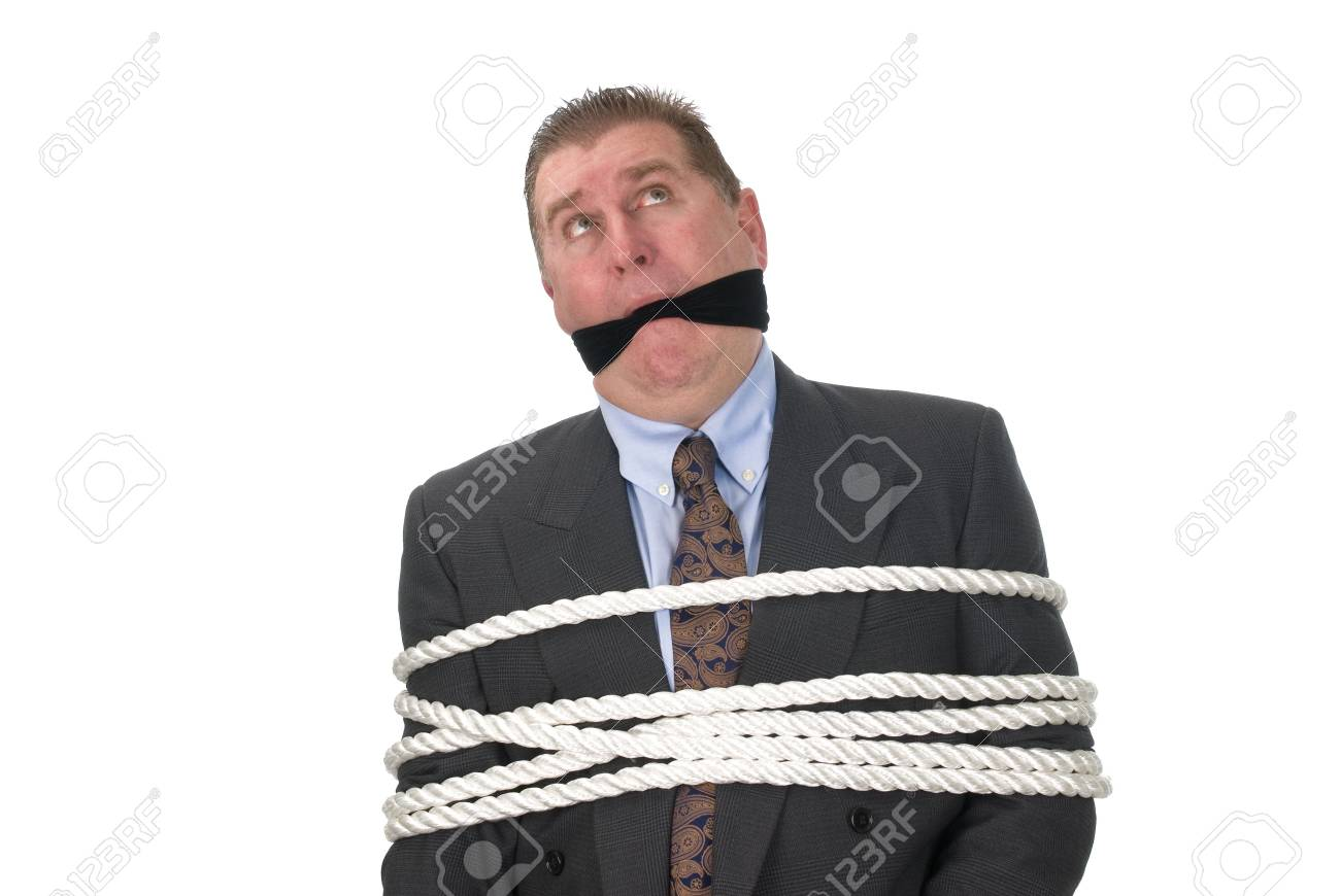A businessman held captive by his employees. Stock Photo - 4360647