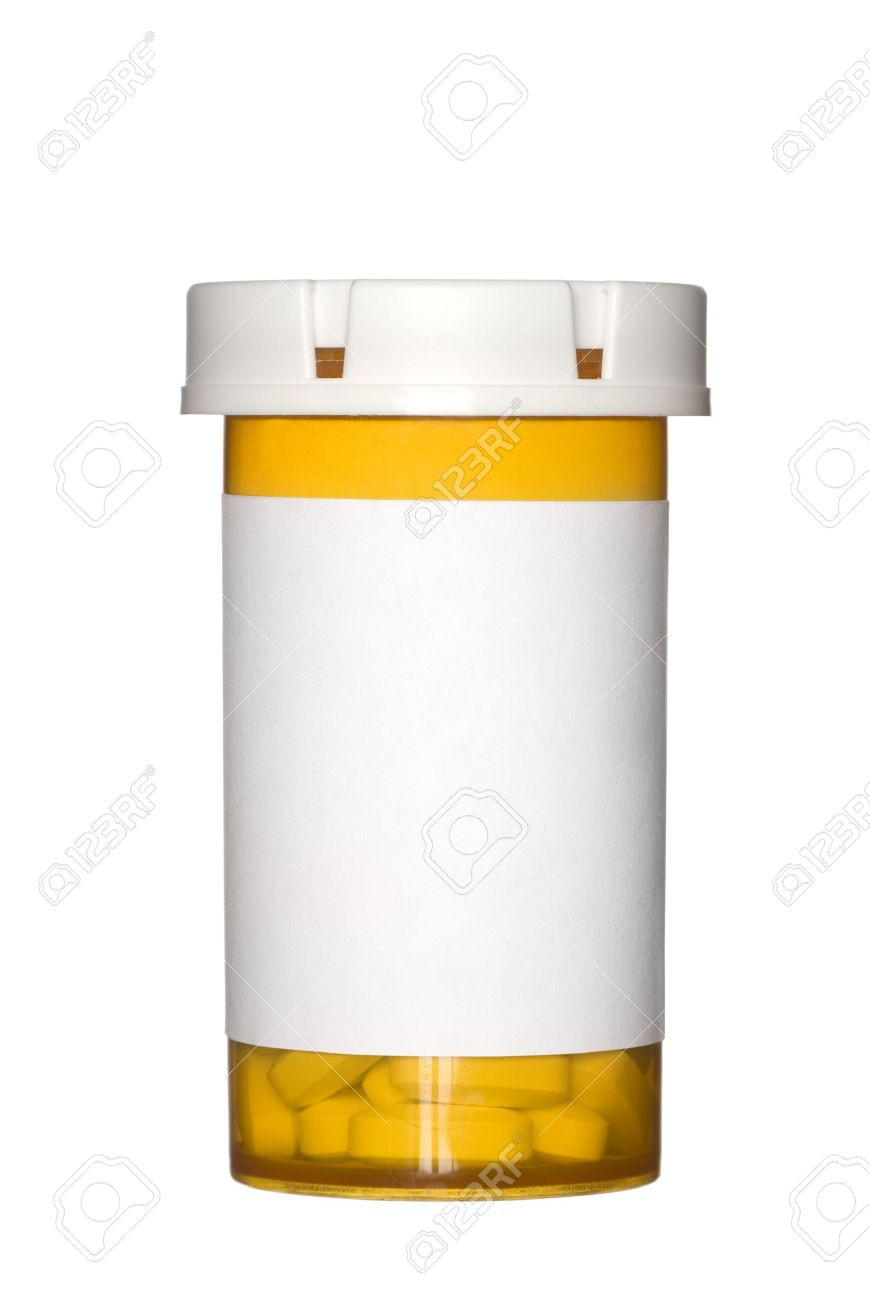 a medical pill bottle with a blank label for copy space and the