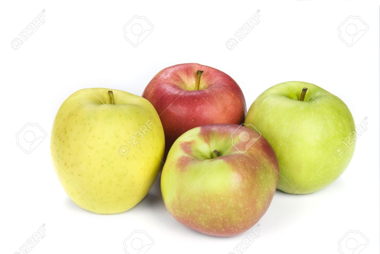 four apples show the variety from yellow to granny smith to a