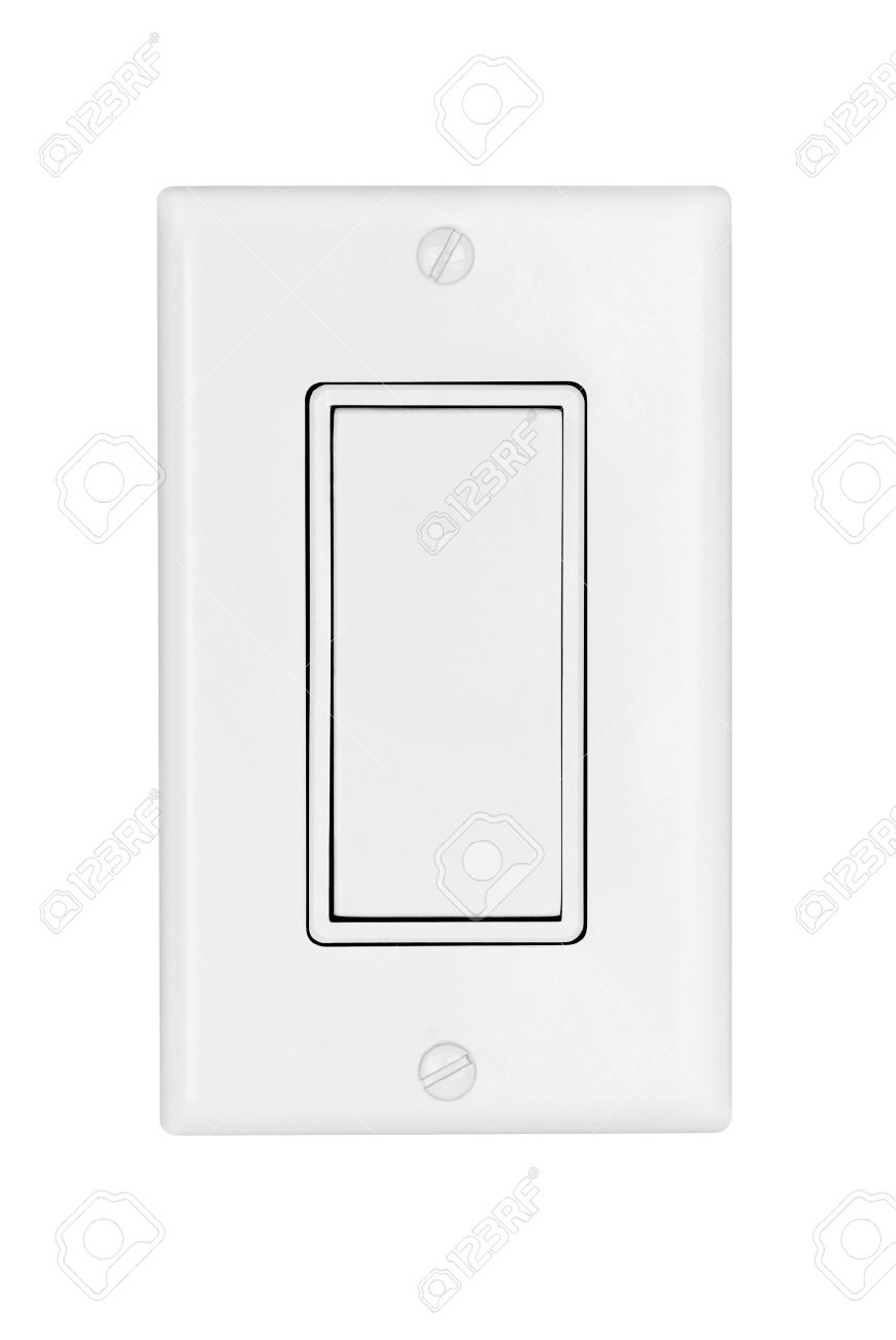 A Modern Electrical Light Switch Isolated On White Stock Photo ...