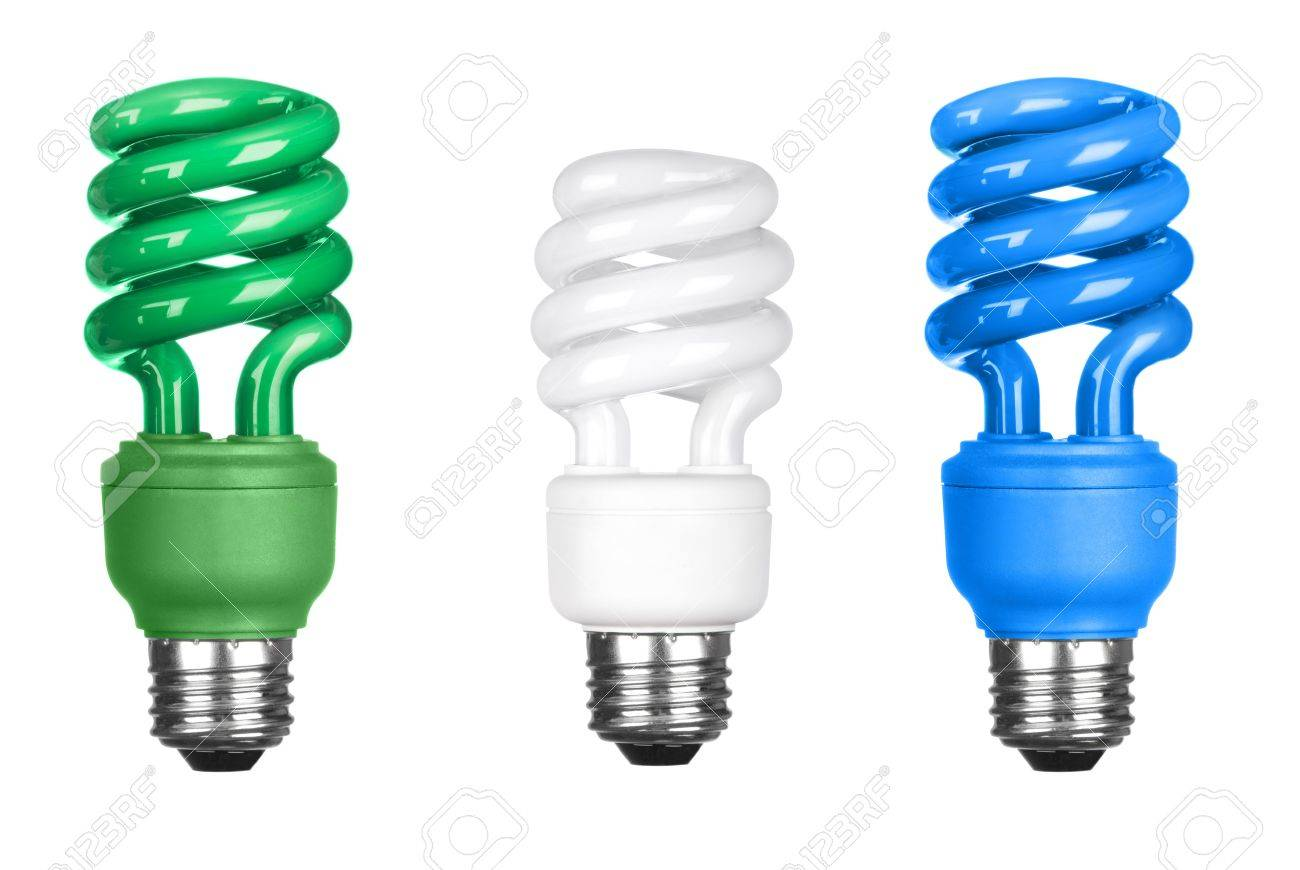 Three energy efficient spiral light bulbs isolated on white. Stock Photo - 7443717
