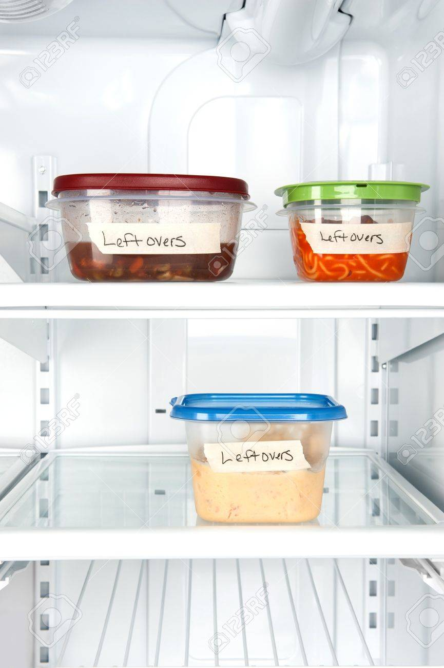 Leftover containers of food in a refrigerator for use with many food inferences. - 8430354