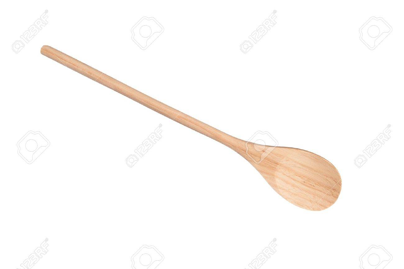 A new wooden cooking spoon isolated on white Stock Photo - 9498235