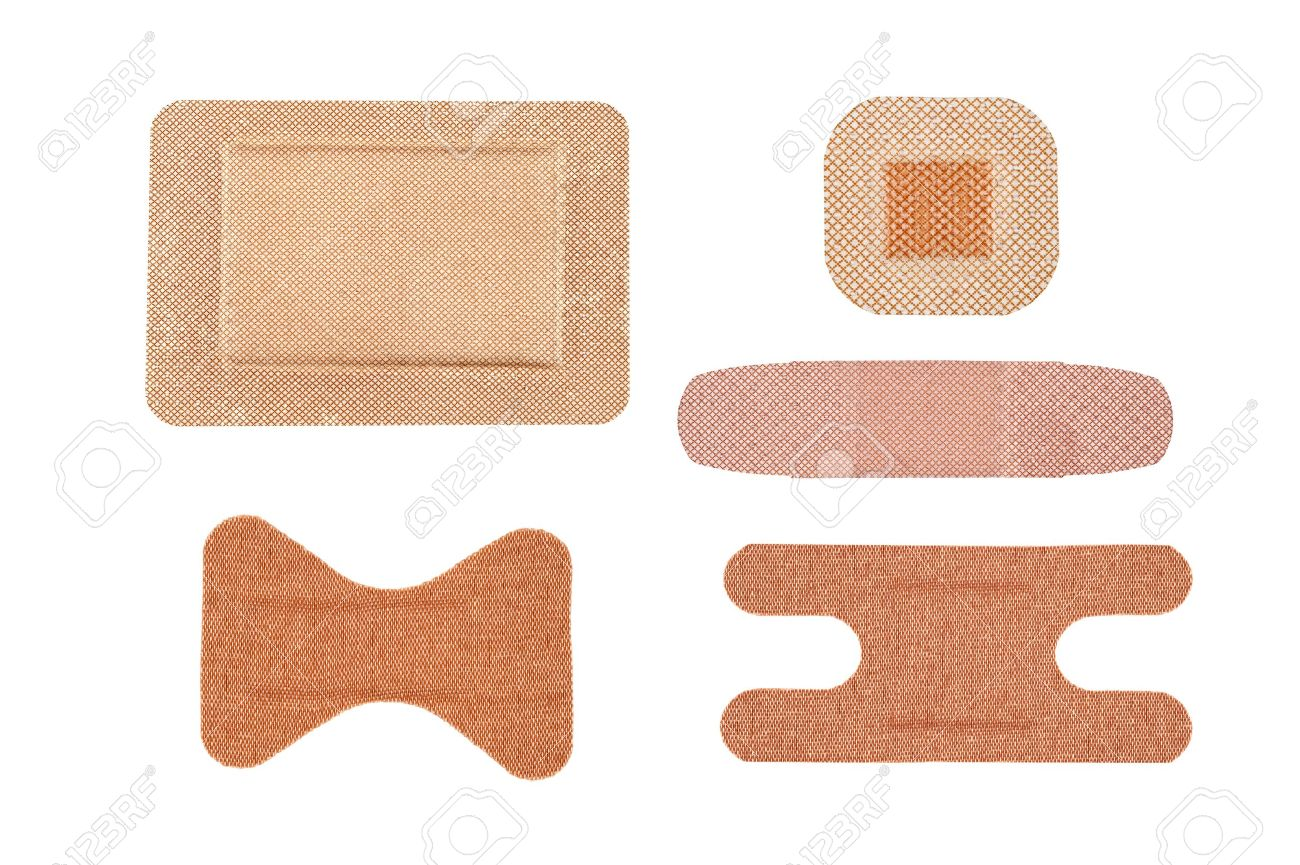 an assortment sterile of adhesive bandages isolated on white stock